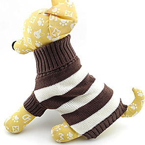 Kat Hund Gensere Stribe Hold Varm Mote Vinter Hundeklær Kostume Bomull XS S M