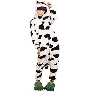 povoljno Halloween smink-Odrasli Kigurumi plišana pidžama Krava Sa životinjama Onesie pidžama Flanel Flis Crna / Bijela Cosplay Za Muškarci i žene Zivotinja Odjeća Za Apavanje Crtani film Festival / Praznik Kostimi