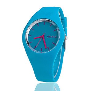 cheap Women's Watches-Women's Wrist Watch Quartz Silicone Black / White / Blue Casual Watch Analog Ladies Charm Casual Fashion - Blue Pink Light Green One Year Battery Life / Tianqiu 377