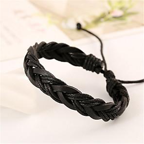 billiga Armband-Herr Dam Läder Armband Läder Armband Smycken Svart / Brun Till Julklappar Bröllop Party Dagligen Casual Sport