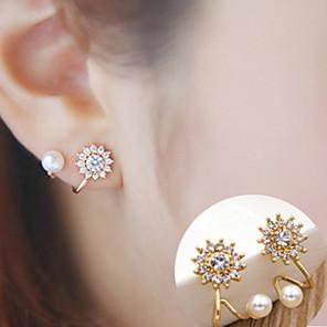 ieftine Ustensile & Gadget-uri de Copt-Pentru femei Zirconiu Cubic Perle diamant mic Cercei Stud Floare Floarea Soarelui femei stil minimalist Modă Elegant cercei Bijuterii Auriu / Argintiu Pentru Zilnic Casual 2pcs