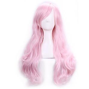 ieftine Kit De Activitate De Copii-Peruci Sintetice Peruci de Costum Buclat Kardashian Stil Cu breton Fără calotă Perucă Pink Roz Păr Sintetic Pentru femei Partea laterală Pink Perucă Lung
