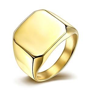 povoljno Prstenje-Muškarci Band Ring Pečatni prsten Zlatan Srebro Titanium Steel Pozlaćeni Simple Style Moda Božićni pokloni Vjenčanje Jewelry