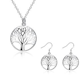 povoljno Naušnice-Žene Kubični Zirconia Komplet nakita Stablo života životno stablo dame Kubični Zirconia Glina Naušnice Jewelry Srebro Za Party Dnevno