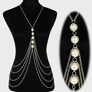 ieftine Bijuterii de Corp-Lanț de Talie Corp lanț / burtă lanț Declarație Ciucure European Pentru femei Bijuterii de corp Pentru Cadouri de Crăciun Zilnic Multistratificat Franjuri Perle Perle Imitație de Perle Placat Auriu