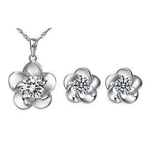 ieftine Seturi de Bijuterii-Pentru femei Diamant Zirconiu Cubic Seturi de bijuterii Cercei Stud Coliere cu Pandativ Rundă Floare femei Modă Zirconiu Zirconiu Cubic cercei Bijuterii Argintiu Pentru Zilnic Casual