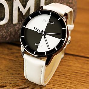 ieftine Ceasuri Damă-Pentru cupluri Ceas de Mână Quartz Piele PU Matlasată Negru / Alb / Roșu Ceas Casual Analog Modă Elegant - Alb Negru Rosu