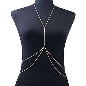ieftine Bijuterii de Corp-Lanț de Talie Corp lanț / burtă lanț Ciucure European Strat dublu Pentru femei Bijuterii de corp Pentru Petrecere Zilnic Franjuri Crossover Placat Auriu Auriu / Colier ham
