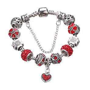 ieftine Brățări-Pentru femei Brățări cu Talismane Brățări cu Mărgele Ștrasuri Χάντρες Inimă Iubire Lux European Modă Ștras Bijuterii brățară Alb / Verde / Rosu Pentru Petrecere Zilnic Casual / Argilă