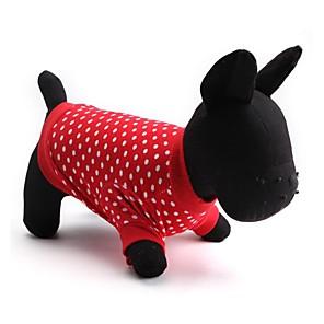 ieftine Imbracaminte & Accesorii Căței-Pisici Câine Tricou Îmbrăcăminte Câini Respirabil Rosu Crăciun Costume Bumbac Buline Modă XS S M L