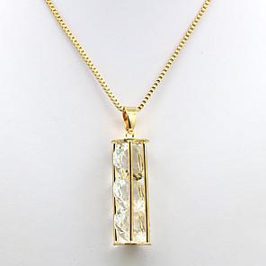 ieftine Coliere-Pentru femei Zirconiu Cubic Coliere cu Pandativ 3 piatră Trecut prezent viitor femei Modă Zirconiu Placat Auriu Aliaj Auriu Coliere Bijuterii Pentru Zilnic Dată