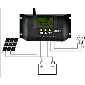 ieftine Conectoare & Terminale-cm3024z 30A 12v / 24v LCD cu ecran cu cristale lichide controler solar