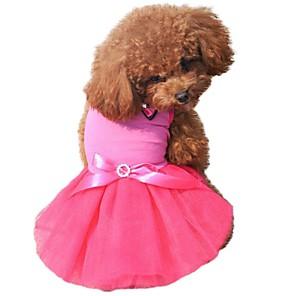 Χαμηλού Κόστους Λαμπτήρες LED-Γάτα Σκύλος Φορέματα Ρούχα για σκύλους Μαύρο Λευκό Κίτρινο Στολές Σιφόν Βαμβάκι Συνδυασμός Χρωμάτων Φιόγκος Κρύσταλλο / Στρας Γενέθλια XS Τ M L