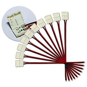 ieftine Conectori-KWB-10mm 10buc 2pin a condus conectori de bandă pentru 5050 o singură culoare a condus benzi