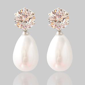 povoljno Naušnice-Žene Sintetički dijamant Sitne naušnice Moda Biseri Naušnice Jewelry Pink Za Vjenčanje Party