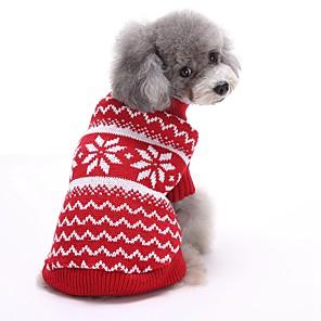ieftine Pet Costume de Crăciun-Pisici Câine Pulovere Crăciun Iarnă Îmbrăcăminte Câini Rosu Albastru Costume Bumbac Dungi Anul Nou XS S M L XL