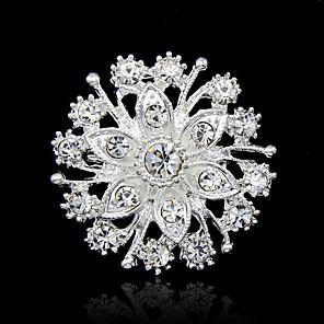 ieftine Broșe-Pentru femei Broșe Rundă Modă Ștras Broșă Bijuterii Argintiu Pentru Petrecere Ocazie specială Zi de Naștere Cadou Zilnic