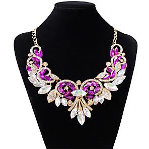 ieftine Colier la Modă-Pentru femei Ametist Coliere Choker Picătură femei Modă Culoare Diamante Artificiale Aliaj Alb Mov Rosu Coliere Bijuterii Pentru Nuntă Petrecere