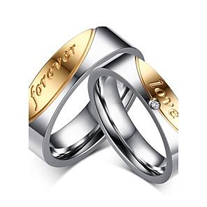 ieftine Inele Cuplu-Bărbați Pentru femei Inele Cuplu Band Ring Groove Inele Zirconiu Cubic Auriu / Argintiu Zirconiu Oțel titan Ciucure Vintage Modă Nuntă Petrecere Bijuterii Inimă Relaţie