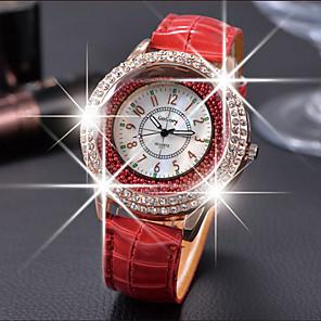 ieftine Câini Articole şi Îngrijire-Pentru femei Ceasuri de lux Ceasuri din Cristal Diamond Watch Quartz Piele Negru / Alb / Roșu Ceas Casual Analog femei Modă Elegant - Maro Rosu Verde