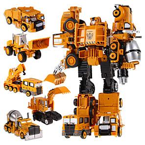 ieftine Benzi Lumină LED-5 in 1 super-roboți jucării pentru copii automobile jucării erou de acțiune de transformare robot de plastic pentru băieți