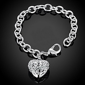 ieftine Brățări-Pentru femei Brățări cu Lanț & Legături Brățări cu Talismane Răsucit Inimă Iubire Hollow Heart femei Personalizat Modă Plastic Bijuterii brățară Argintiu Pentru Cadouri de Crăciun Nuntă Petrecere
