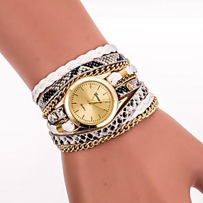 ieftine Ceasuri Brățară-Pentru femei femei Ceas Brățară Ceas de Mână ceasul cu ceas Quartz Wrap Casual Cool Piele PU Matlasată Negru / Alb / Albastru Analog - Alb Negru Rosu Un an Durată de Viaţă Baterie / Oțel inoxidabil
