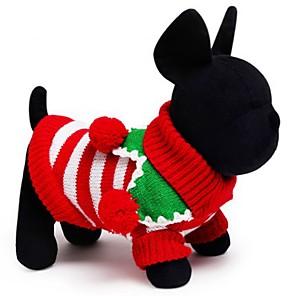 ieftine Imbracaminte & Accesorii Căței-Pisici Câine Pulovere Iarnă Îmbrăcăminte Câini Alb Verde Rosu Costume Bumbac Dungi Nuntă Keep Warm Crăciun XXS XS S M L