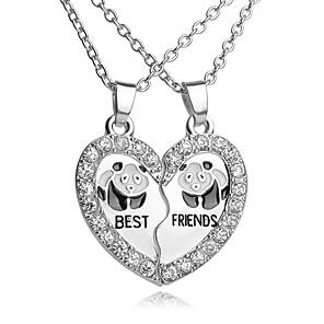 ieftine Colier la Modă-Pentru femei Coliere cu Pandativ Y Colier Gravat Inimă frântă Inimă Floare Iubire viață copac Cei mai buni prieteni femei European Modă Bijuterii inițială Ștras Argilă Aliaj Argintiu Coliere Bijuterii