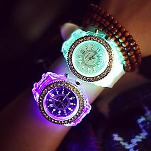 ieftine Ustensile & Gadget-uri de Copt-Pentru femei Ceas de Mână Quartz Silicon Negru / Alb LED Luminos Iluminat Analog femei Sclipici Casual Modă - Alb Negru