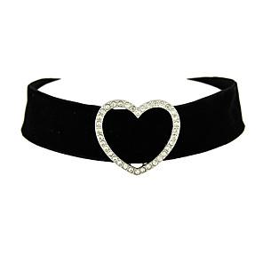 ieftine Colier la Modă-Pentru femei Coliere Choker tatuaj cravată Inimă femei Stil Tatuaj Flanelă Negru Coliere Bijuterii Pentru Mulțumesc Zilnic aleasă a inimii