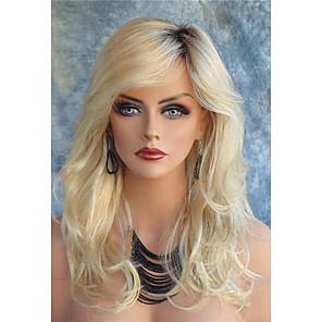 ieftine Peruci & Extensii de Păr-Peruci Sintetice Stil Ondulat Stil Ondulat Cu breton Față din Dantelă Perucă Blond Lung Blond Păr Sintetic Pentru femei Rădăcini Închise Partea laterală Blond