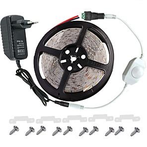 ieftine Cabluri de Adaptor AC & Curent-seturi de lumină kwb 5m 300 leduri 3528 smd 8mm alb cald / alb / roșu telecomandă / rc / cuttable / dimmable 100-240 v / ip65 / impermeabil / conectabil / potrivit pentru vehicule / autoadeziv