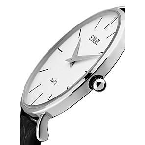 ieftine Ceasuri Bărbați-SINOBI Bărbați Ceas de Mână Quartz Piele Autentică Negru / Maro 30 m Rezistent la Apă Rezistent la Șoc Analog Lux Clasic Vintage Modă minimalist - Negru Maro Doi ani Durată de Viaţă Baterie
