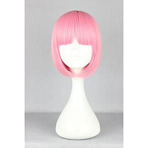 ieftine Peruci & Extensii de Păr-Peruci Sintetice Drept Kardashian Stil Tunsoare bob Fără calotă Perucă Pink Roz Păr Sintetic Pentru femei Pink Perucă hairjoy