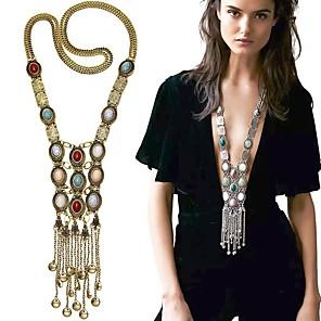 ieftine Brățări-Pentru femei Perle Coliere cu Pandativ Coliere Colier lung, Multistratificat Franjuri Lung femei Ciucure Boem Modă Perle Aliaj Auriu Argintiu 80 cm Coliere Bijuterii Pentru Petrecere Zilnic Casual