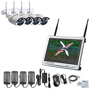povoljno Sigurnosni senzori-strongshine® 4ch h.264 bežični nvr sa 12.5inch zaslonom i 960p vodootporni / infracrveni wifi ip kamera sustav nadzora