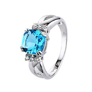 ieftine Cercei-Pentru femei Inel Zirconiu Cubic Albastru Albastru Deschis Zirconiu Zirconiu Cubic femei stil minimalist Modă Nuntă Petrecere Bijuterii Solitaire Radiant Cut Inel de coctail