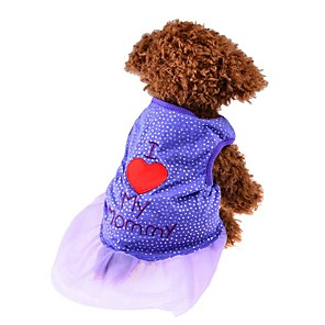 ieftine Lumini Nocturne LED-Pisici Câine Tricou Rochii Îmbrăcăminte Câini Negru Mov Roz Costume Bumbac Inimă Modă XS S M L