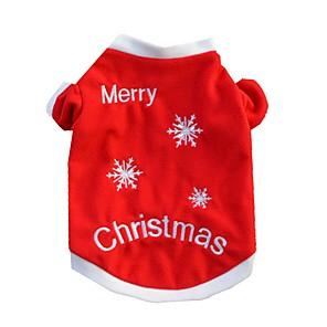 ieftine Pet Costume de Crăciun-Pisici Câine Tricou Iarnă Îmbrăcăminte Câini Rosu Costume Bumbac Fulg zăpadă Casul / Zilnic Crăciun XS S M L