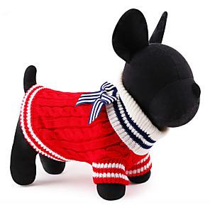 ieftine Pet Costume de Crăciun-Pisici Câine Pulovere Crăciun Bloc Culoare Anul Nou Iarnă Îmbrăcăminte Câini Rosu Albastru Costume Celofibră / Poliester XS S M L