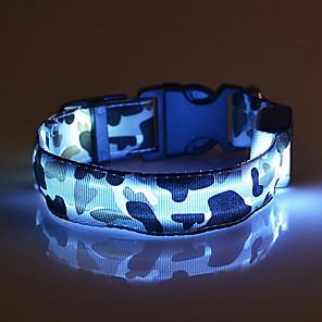ieftine Câini Gulere, hamuri și Curelușe-Pisici Câine Gulere Lumini LED Ajustabile / Retractabil camuflaj Nailon Verde Albastru Roz