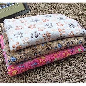 ieftine Câini Articole şi Îngrijire-Pisici Câine Căptușeală saltea Curăţare Prosop Paturi de pat Faţă-Verso Pliabil Animale de Companie  Pături Catifea cord Footprint / Paw Roz Trandafiriu Bej