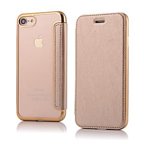 hesapli iPhone Kılıfları-Pouzdro Uyumluluk Apple iPhone 8 Plus / iPhone 8 / iPhone 7 Plus Flip Tam Kaplama Kılıf Solid Sert PU Deri