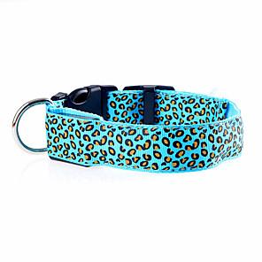 ieftine Imbracaminte & Accesorii Căței-Pisici Câine Gulere Lumini LED Ajustabile / Retractabil Reîncărcabil Leopard Nailon Mov Portocaliu Galben
