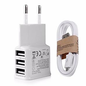 ieftine încărcător cu cablu-Încărcător Casă / Încărcător Portabil Încărcător USB Priză US / Priză EU Multi Porturi 3 Porturi USB 2.1 A pentru