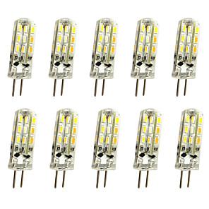 ieftine Becuri LED Corn-10pcs 1 W Becuri LED Bi-pin 120 lm G4 T 24LED LED-uri de margele SMD 3014 Decorativ Alb Cald Alb Rece 12 V / 10 bc / RoHs
