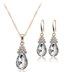 ieftine Seturi de Bijuterii-Pentru femei Cristal Seturi de bijuterii Solitaire Picătură femei European cercei Bijuterii Alb / Rosu / Albastru Pentru Nuntă Petrecere Zilnic