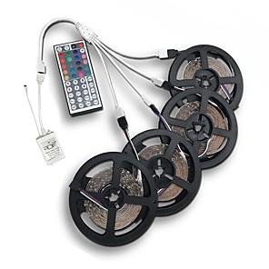 ieftine Papetărie-20m (4 * 5m) 3528 rgb1200 leds 8mm bandă lumină flexibilă cu leduri de bandă luminoase nepermeabile DC 12v cu 44key ir kit de telecomandă