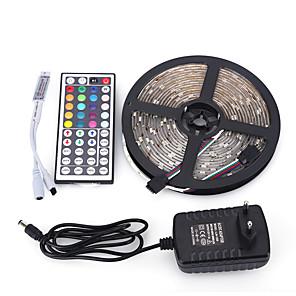 ieftine Set Becuri-5m Bare De Becuri LED Rigide 150 LED-uri 5050 SMD RGB Telecomandă / Ce poate fi Tăiat / Intensitate Luminoasă Reglabilă 100-240 V / De Legat / Potrivite Pentru Autovehicule / Auto- Adeziv / IP44